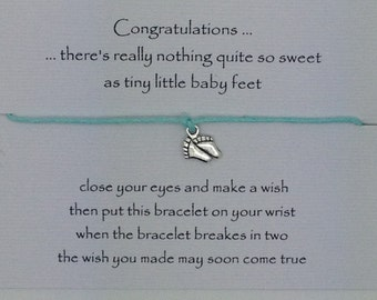 Mum to be Gift ~ Wish Bracelet ~ friendship ~ Choice of wish card ~ baby feet ~ baby shower favour ~ Gift ~
