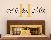 "Mr. & Mrs. Personalized Initial Vinyl Wall Decal - 20""H x 36""W"