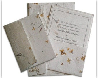 Handmade floral paper off-white with sandwiched flowers wedding invitation kit
