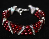 Red Beaded Bracelet, Red and Crystal Beaded Bracelet, Pearls and Beads, Red Pearl Bracelet, Women's Beaded Bracelet, Red Pearl Beads