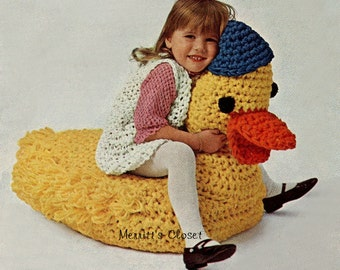 Duck Floor Cushion Seat, MAke with Aunt Lydia's Heavy Rug Yarn, Vintage Crochet Pattern, INSTANT DOWNLOAD PDF