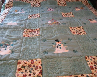 60 x71 inch Teal Snowman Reversible Throw Quilt