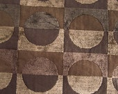 CIRCLES in SQUARES CHENILLE & Woven Contemporary Upholstery Fabric Earth Colors