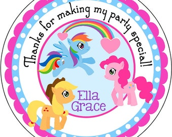 My Little Pony Personalized Birthday Labels Stickers for use as Gift Tags, Party Favors, or Address Labels