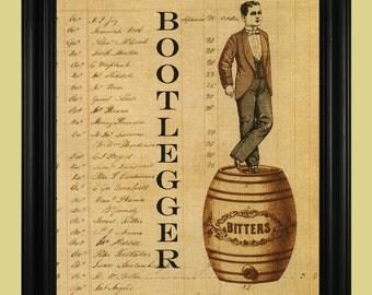 Bootlegger Art Print, Vintage Whisky Barrel Illustration, Prohibition Era Sign, Moonshiner Man