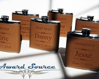 Groomsmen Wedding Gift 12 Leather Flask Set, Engraved Flask, Flask Leather Wrapped, Best Man Gift