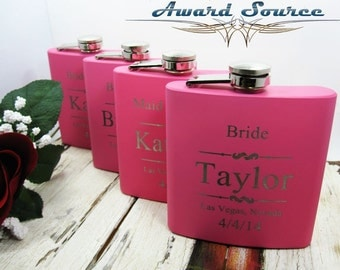 Custom Gifts, Set of 1, Personalized Flasks, Wedding Gifts, Pink Bridesmaid Flask, Flasks for Women, Maid of Honor Gifts