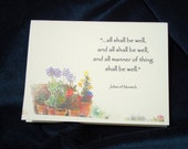 All Shall Be Well...and All Manner of Thing Shall be Well -  a single folded card with envelope