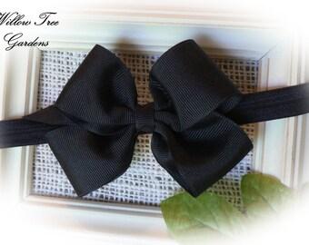 Black Boutique Bow Headband, Baby - Toddler - Girl - Adult Headband or Barrett. Photo Prop