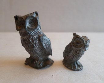 Two Vintage Pewter Owls