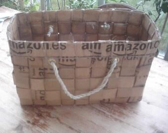 upcycled cardboard basket