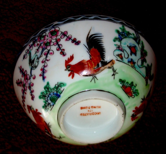 Famille Rose Rooster Bowls With Rooster Cherry Blossoms Motif