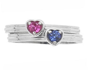 Custom Birthstone Stackable Ring In Sterling Silver