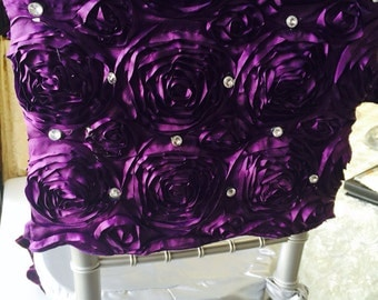 Chair Cap Royal Purple Rosette with real crystal