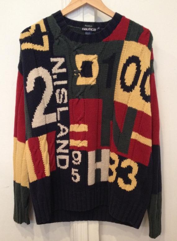 On Sale - Vintage 90's NAUTICA Multi Color Sweater - Size Large