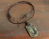 Rustic Window - Necklace Pendant Handmade OOAK Metalwork