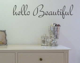 Wall Sticker - Hello Beautiful - Decals - Home Decor - Quote - Wall art - Mirror Stickers - Wall Message