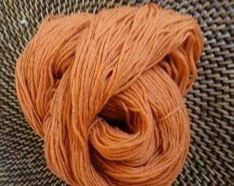 Hand Dyed 100% Superwash Merino Sport Weight Yarn Pumpkin