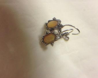 Vintage Pierced Lever Back Antique Silver Tone Pierced Earrings