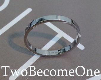 2mm Ladies Platinum Flat Shape Handmade Wedding Ring / Band / 3.6g