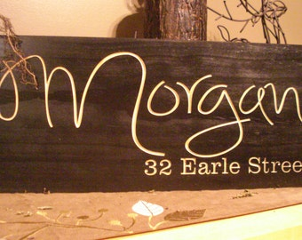 Custom Wooden black Address Sign Carved Address Plaque House Number Signs Personalized Bridesmaid Gifts Bridesmaid & Groomsman Gifts #44