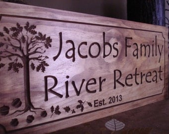 Oak Tree and Acorn Persoanlized Cabin Family Established Sign Custom wood carved Signs Wooden Carved Cabin Plaque Family Retreat Benchmark
