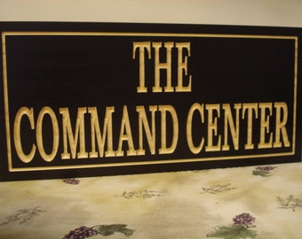 Command Center, Personalized Carved Sign,  Home Bar Sign, Office Decor, Groomsman gifts, Fathers Day, Gifts for guys, Outdoor carved sign