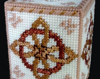 ANCIENT CELTIC KNOT -  Boutique Size Tissue Box Cover - Needlepoint on Plastic Canvas - Tissue Topper - Free Tissues