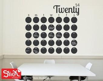 2017, Jumbo Calendar Wall Decal, Chalkboard Wall Calendar, Handmade Calendar Decal, Blackboard Sticker, Calendar Wall Sticker, Office Gift