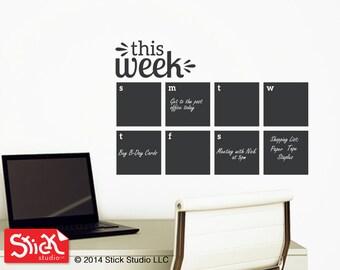 Weekly Wall Planner - Calendar Wall Decal - Chalkboard Calendar Decal - Blackboard Decal - Chalkboard Calendar - Chalkboard 098