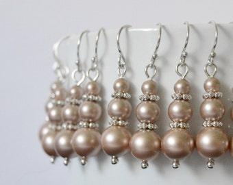 Set of 8 Bridesmaid Gifts, 8 Pairs of Champagne Pearl Earrings, Wedding Earrings, Bridal Party Gifts, Pearl Drop Earrings