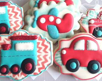 Planes Trains and Cars Cookies