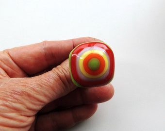 Fused glass ring,green red purple yellow orange fused adjustable ring