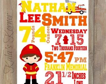 FIREFIGHTER NURSERY ART - Birth Stats Print - Subway Art - Birth Info - Baby Info Print - Firefighter Decor - Fireman Print - Fireman art