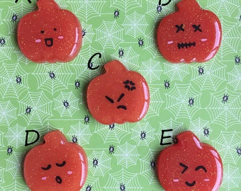 Pumpkins Keychain or Magnet with Cute Emotions