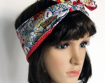 Retro Reversible Comic Script Hair Wrap. Head Scarf. Bandana . Vintage Style. Great Gift for Girls and Ladies