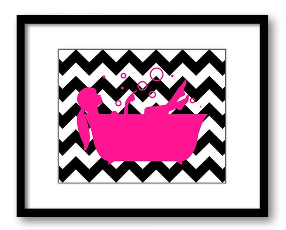 Bathroom decor bathroom print deep hot pink and black girl for Pink and black bathroom decor
