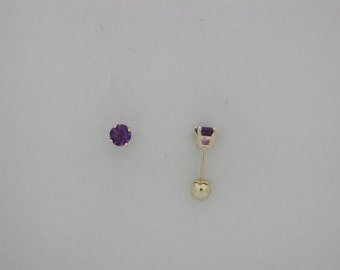 Genuine Amethyst Earring 14kt Yellow Gold Screwback For Baby Children