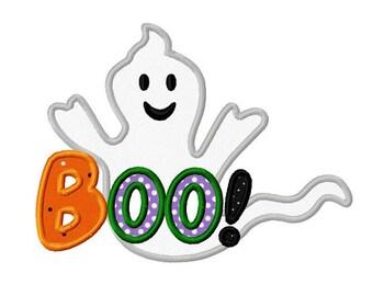 Halloween ghost boo applique machine embroidery design