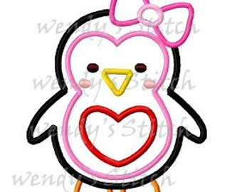cute girl penguin machine embroidery design applique