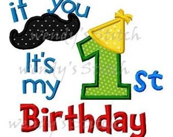 It's my first mustache birthday 1st birthday applique machine embroidery design