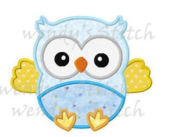 Cute baby owl applique machine embroidery design digital pattern