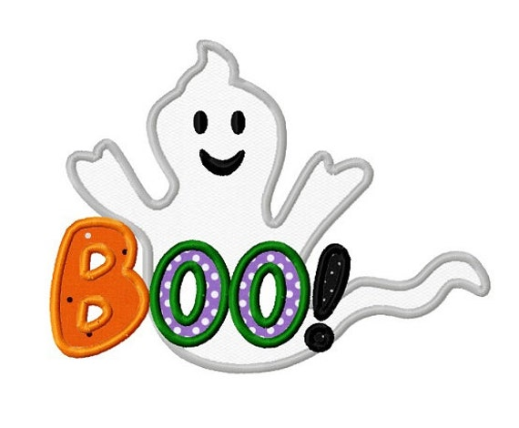 Halloween ghost boo applique machine embroidery design