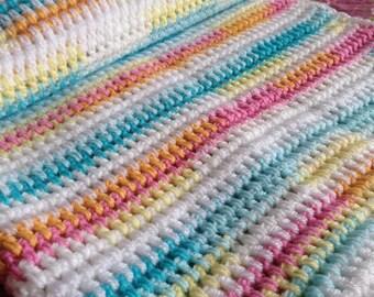 Candy Stripe Crochet Baby Blanket