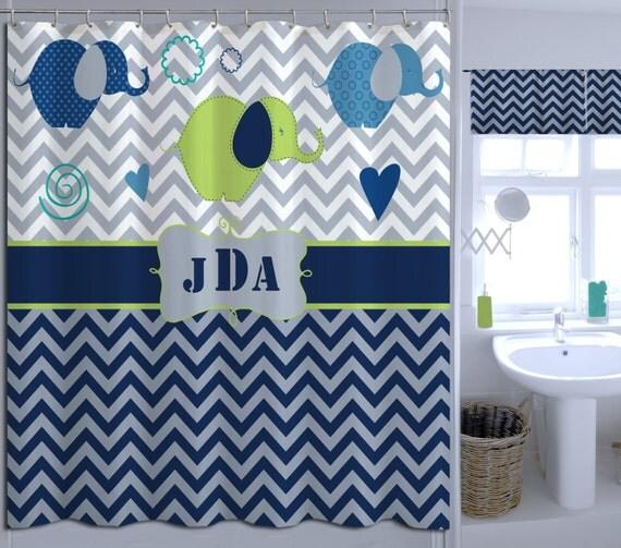 Shower curtain chevron shower curtain navy blue shower curtain