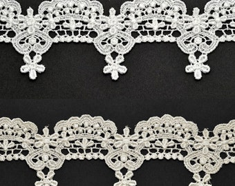 Venise Flower Lace Ribbon Trim for bridal, apparel, home décor,  2-1/4 Inch by 1 Yard, White, Ivory, ROI-1912