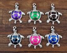 4pcs-- Turtle Charms Enamel Plated , Colorful cute turtle Charm Pendants, Animals, Tortoise charms   35x27mm