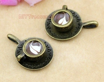 4pcs--Cup and Saucer Charms, Antique Bronze Lovely 3D Coffee Cup Charm Pendant  26x18x8mm