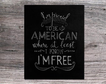 I'm Proud to be an American 8x10 4th of July / Independence Day Chalkboard printable digital download