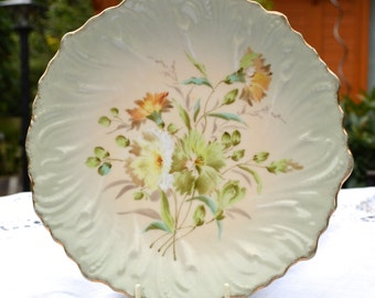 Exquisite Vintage European Decorative Floral Plate - Wall Decor or Serving - Misty Green Blush with Floral Spray Centre and Fluted Rim